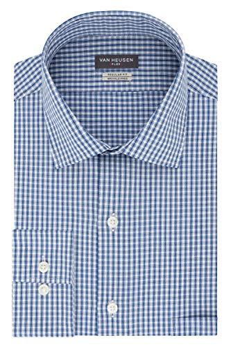Van Heusen Men's Dress Shirt Regular Fit Flex Collar Check, Midnight, 18.5