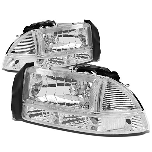 Dodge Dakota/Durango 4pcs Chrome Housing Clear Corner Headlight+Bumper Lights Kit Replacement Dodge Dakota Corner Light