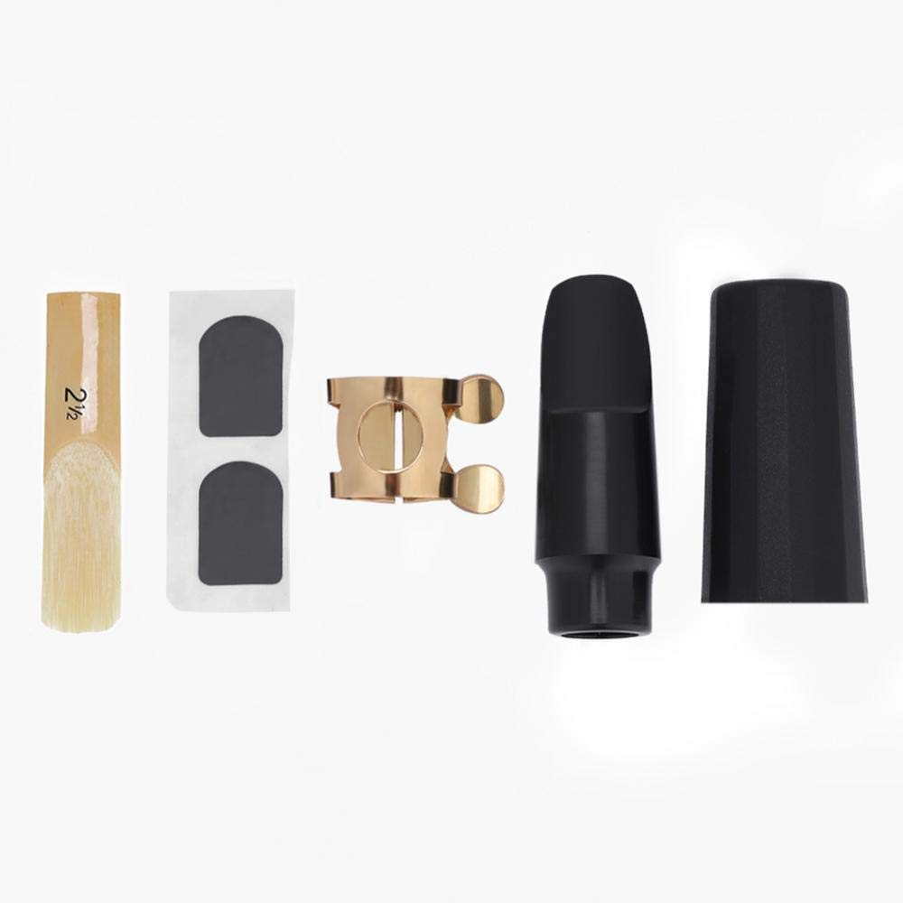 5 IN 1 Sax Mouthpiece Kit, Sax Saxophone ABS Mouthpiece with Cap & Metal Buckle & Reed & Pads Musical Instruments