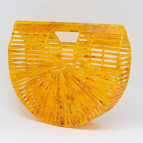 Handmade Ark Handbag Acrylic Clutch Womens Yellow Miuco Purse HxntaTt