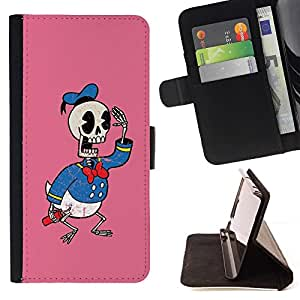 DEVIL CASE - FOR HTC One M8 - Funny D Duck Skeleton - Style PU Leather Case Wallet Flip Stand Flap Closure Cover