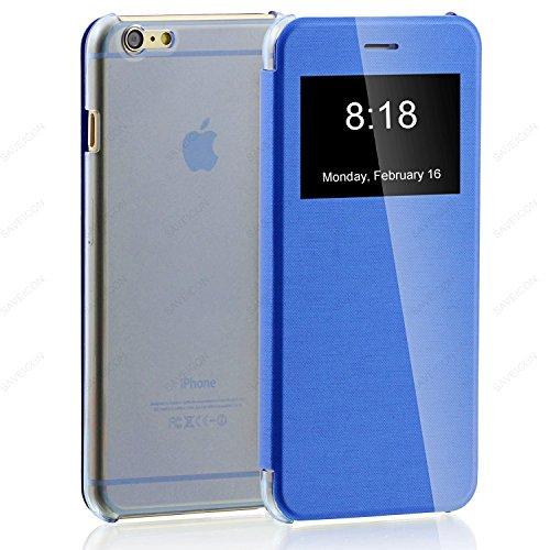 "iPhone 6 Case , SAWE - [Smart Window View] Apple iPhone 6 4.7"" Folio Wallet Case - Slim Flip Leather Case For Apple iPhone 6 4.7 Inch Smartphone (Blue)"