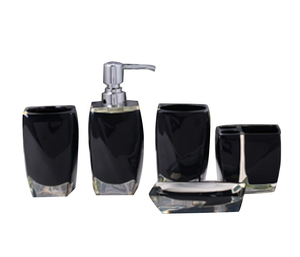 bellabrunnen 5pcs bathroom accessories set acrylic finish luxury cystal like black amazoncouk kitchen home - Black Bathroom Accessories Uk