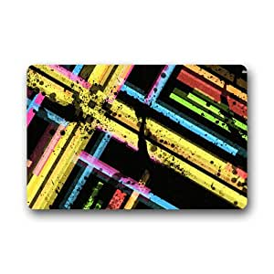 Custom Decorative Door Mat Colorful Stripes Art Machine-wahable Indoor/Outdoor Doormat 23.6inch X 15.7inch