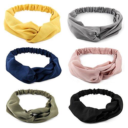 Yeshan Women and Girls Stretch Criss Cross Fashion Headband/Bandana/Turban/Headwrap Knotted Hairband,pack of -