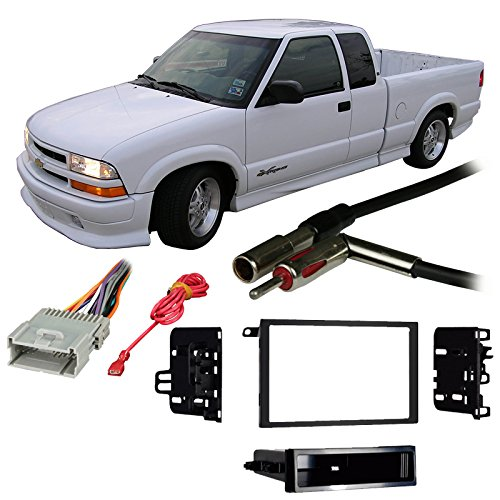 Fits Chevy S-10 Pickup 03-04 Double DIN Stereo Harness Radio Install Dash Kit ()