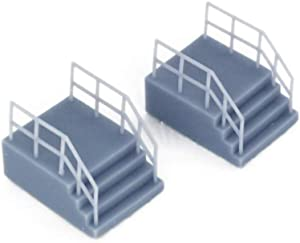 Outland Models Railroad Scenery Entrance Stairs w Fencing(Short) x2 1:87 HO Scale