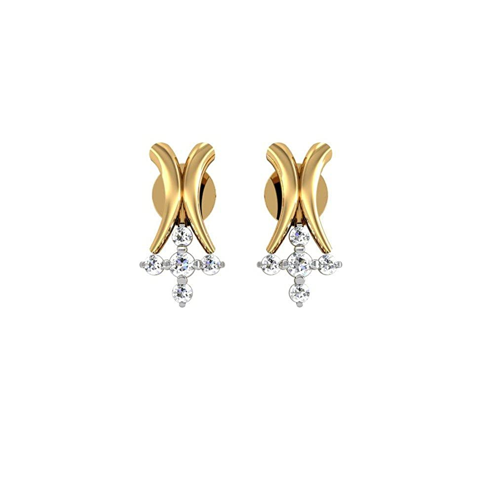 fcc76f2b591eb Buy D'Damas 18k Yellow Gold and Diamond Stud Earrings Online at Low ...