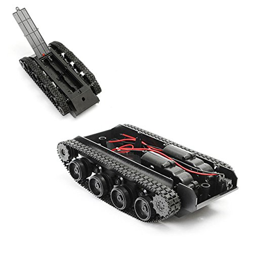 Tank Robot Chassis, Oldeagle Smart Robot Tank Car Chassis Kit Rubber Track Crawler for Arduino 130 (Tracked Vehicle Chassis Kit)