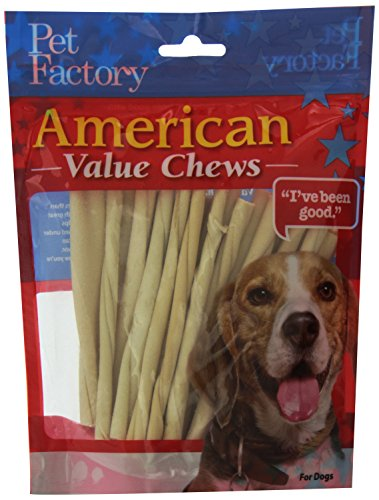 PET FACTORY 28054 American Beef-Hide Premium Twist Sticks, 5-Inch, 25-Pack (Factory Pet Rawhide)