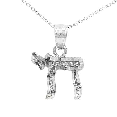 Amazon Ice On Fire Jewelry 10k White Gold Chai Symbol Pendant