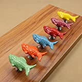 Sytian Multicolor Candy Color Baby Kid's Children's Furniture Drawer Handles Decorative Ceramic Door Cabinet Drawer Knobs Pull Handles Creative Cupboard Handle Pull Knobs with Screw (Fish,6pcs)