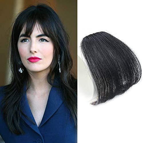 Reysaina Clip in Bangs Real Human Hair Fringe Hairpiece Clip on Bangs for Black Women Natural Black #1B