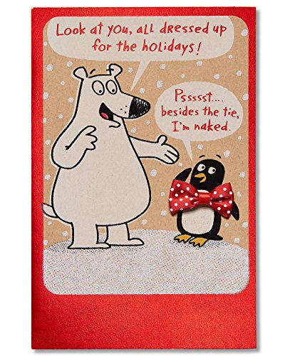 Naked Christmas Cards - American Greetings Funny Naked Christmas Card with Bow (5777180)