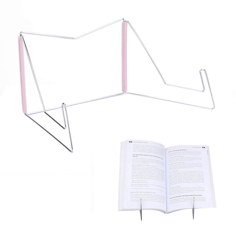 Book Stands,Fold-n-Stow Metal Bookstand,Music Book Easel Display Holder,Adjustable Reading Stand,Small Book Rest for Kitchen Counertops,Bookrest for Hardcover Textbook,Ipad,Cookbook,Recipe (Pink)
