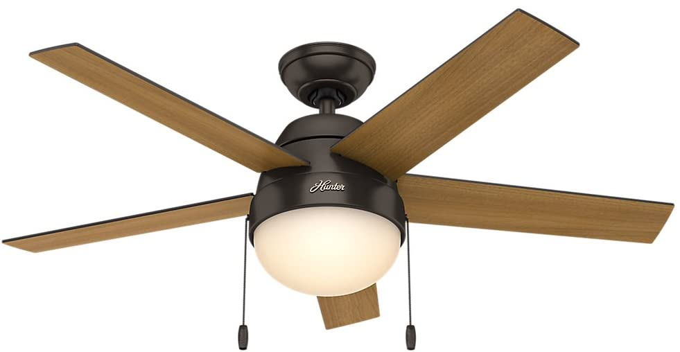 Hunter Indoor Ceiling Fan with light and pull chain control – Anslee 46 inch, Premier Bronze, 59265