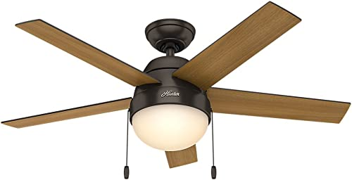 Hunter Anslee Indoor Ceiling Fan with LED Light and Pull Chain Control, 46 , Premier Bronze