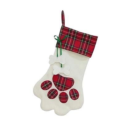 perg Transferencia Bolsillos de Perros de Huellas calcetín de Calcetines de árbol de Navidad Adornos de