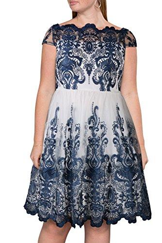 4703f595b35f5 Nemidor Women s 1950s Vintage Embroidery Plus Size Cocktail Dress