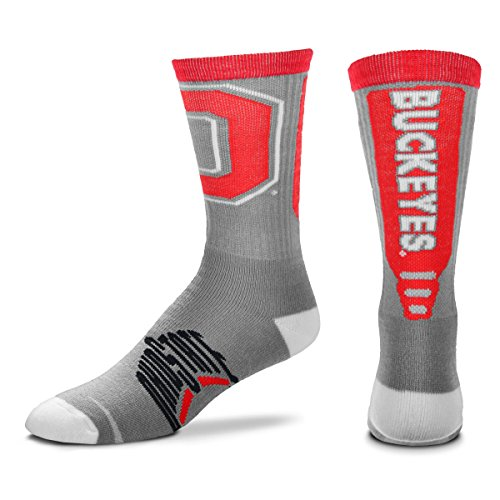 - For Bare Feet NCAA Mens Cool Gray Jump Key Crew Socks-Ohio State Buckeyes-Large(10-13)