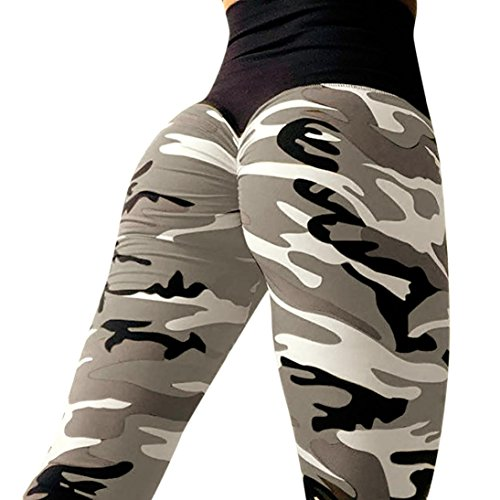 (Women YOGA {Camo Solid} {Camouflage Workout Gym Sweatpants} {Elastic Fitness Leggings} {Sports Pants} {Athletic Clothes} {Mid Waist} {Stretch Trousers} (L, Gray))