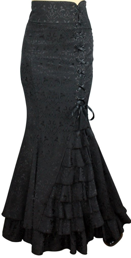 -Shimmery Night in London- Victorian Gothic Ruffle Steampunk Vintage Style Skirt (Small)