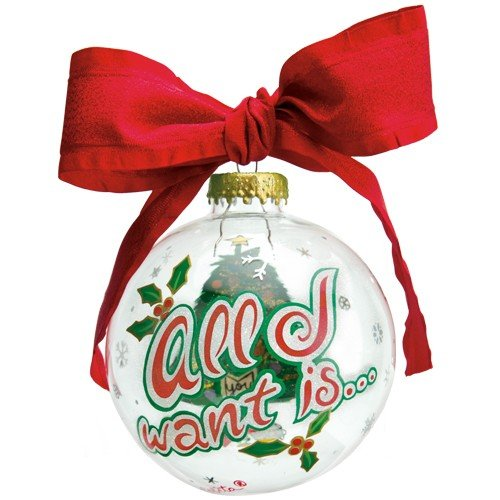 Santa Barbara Design Studio Lolita Holiday Moments Glass Ball Ornament, All I Want (Wine Lolita Ornament Glass)
