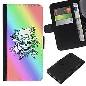 Sony Xperia Z4 / Sony Xperia Z4V / E6508 Modelo colorido cuero carpeta tirón caso cubierta piel Holster Funda protección - Skull Rainbow Luck Gambler