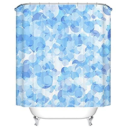 BEEBEE Blue Bubble Shower Curtain For Bathroom Set With Hooks Accessories Mildew Resistant