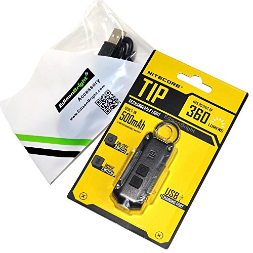 Nitecore TIP USB rechargeable 360 lumen keychain flashlight grey color body with EdisonBright brand USB charging cable