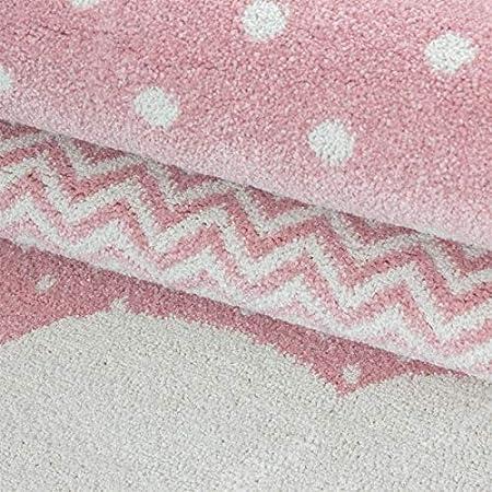 Ayyildiz Teppich Tapis Enfant Chambre de B/éb/é Motif Nuages Rose Gris Blanc 120x120 cm Ronde