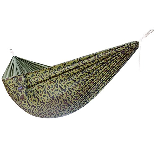 Yes4All Single Lightweight Camping Hammock with Carry Bag – Nylon Parachute Hammock / Lightweight Portable Hammock for Camping, Hiking (Camo)