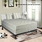 Spring Solution Mattress, 9-Inch Fully Assembled Orthopedic Back Support King Mattress and Box Spring With Bed Frame,Hollywood Collection