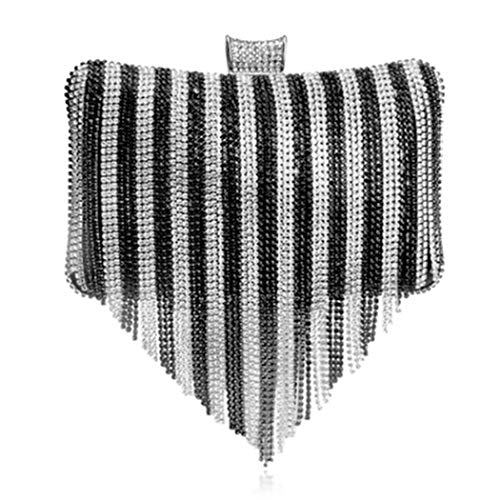 Evening Black Gorgeous Shoulder Clutch Strap Ladies Nightclub With Banquet Long Diamond Bag Bag Chain Silver Evening Luxury Luxury Bag Bride TU1Pwf