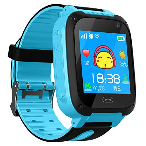 Children's Smart Watch W08 Anti Lost Child Tracker SOS Smart Monitoring Positioning Phone Kids Baby Watch Compatible iOS Android,Smartwatch Blue,China,Russian