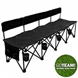 GoTEAM! Pro 4 Seat Portable Folding Team Bench - Black