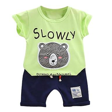 2PCS Kids Baby Boy Boys Summer Cotton Outfits T-Shirt Tops Shorts Clothes Sets