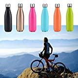 Sports Water Bottle Double Wall Vacuum Insulated Stainless Steel Water Bottle -17oz - for camping Hiking Cycling (Orange)