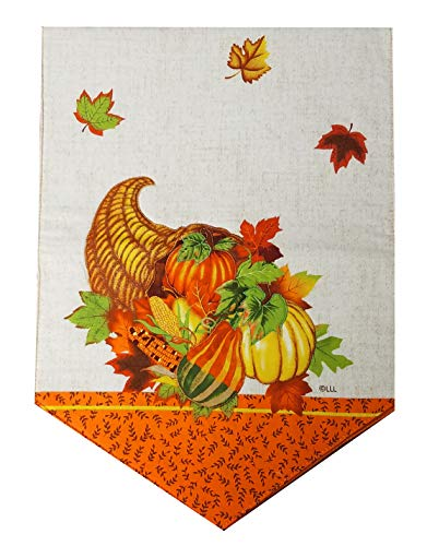 Nantucket Thanksgiving Table Runner for Kitchen Table, Dining Table, Coffee Table or Dresser 36 inches Long with Cornucopia, Leaves, and Pumpkins for The Fall Season Reversible (Kitchen Nantucket Table)