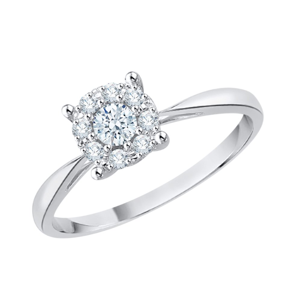 Diamond Halo Anniversary Ring in Sterling Silver (1/4 cttw) (GH-Color, I2/I3-Clarity) (Size-4.5)