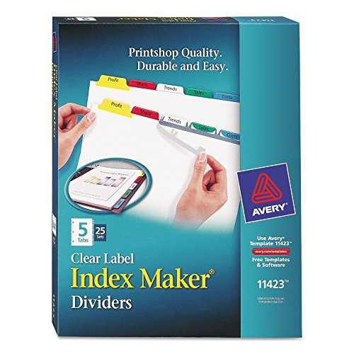 Avery 5-Tab Binder Dividers, Easy Print & Apply Clear Label Strip, Index Maker, Multicolor Tabs, 25 Sets ()
