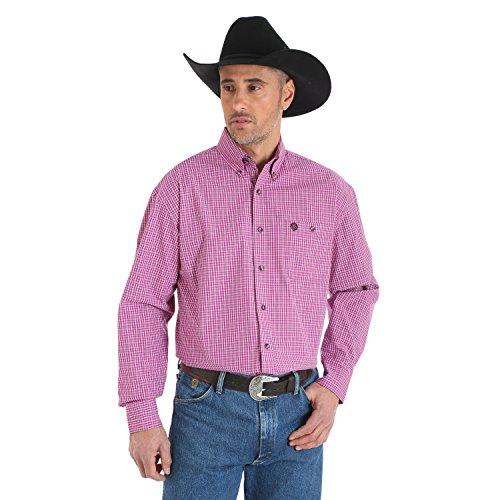 - Wrangler Men's George Strait Plaid Button Down Shirt Big And Tall Magenta MT