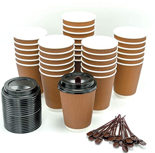 Premium Disposable Paper Coffee Cups with Lids & Stirrers - 12oz (100 Pack) by TMB Innovations | Stylish Design | Disposable To-Go Coffee Cups | Perfect for Office Parties Home Travel (Stylish Ripple)