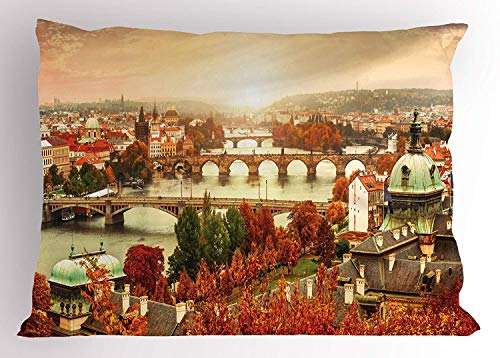 K0k2t0 Wanderlust Pillow Sham, Sunset View to Charles Bridge on Vltava River Housetop Roof Colorful Tree Leaves, Decorative Standard Queen Size Printed Pillowcase, 30 X 20 inches, Multicolor