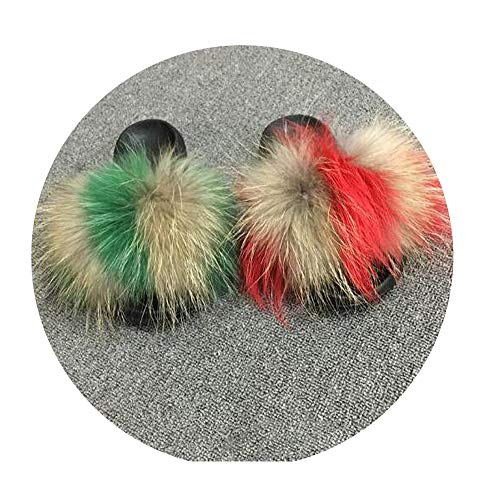NDJqer Winter Women's Plush Slippers Indoor Furry Home Shoes Warm Fox Fur Slippers Slides Flip Flops,Green Red Camel,11 ()