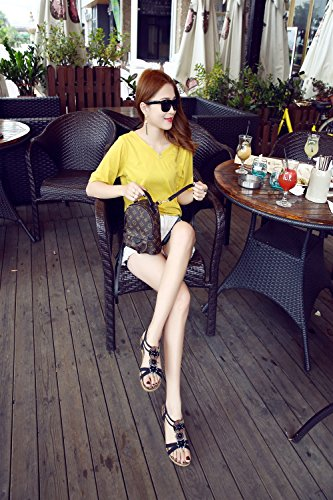 Slip Pantofole XIAOQI donne Outdoor di Fancy Moda amp; Nuovi Outdoor Boemia Nero Accappatoi Ciondolo sandali delle estate Perline Indoor Sandali TqnwwCUZfx