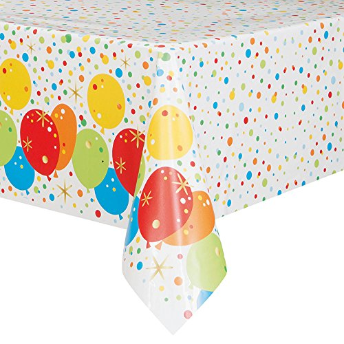 Foil Glitzy Rainbow Happy Birthday Plastic Tablecloth, 84