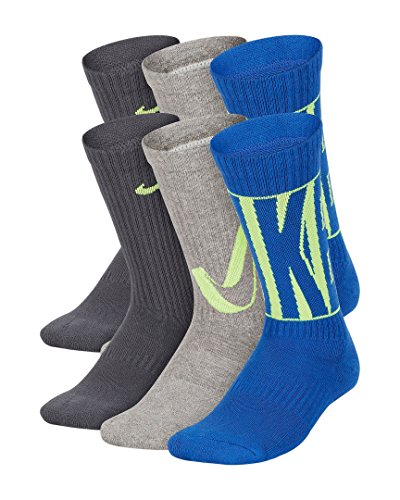 - Nike Kids' Everyday Cushion Crew Socks (6 Pairs), Grey/Blue, Small