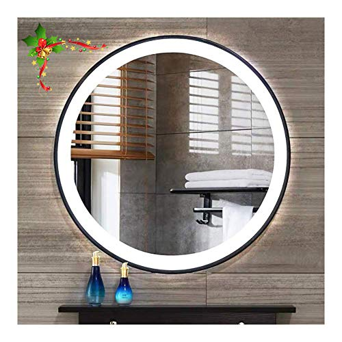 Beauty4U Bathroom Round LED Mirror Large Backlit Vanity Wall-Mounted Mirror for Make-up -