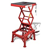 SKB Family Red Motorcycle Lift 300 lb with Foot Pad, Locking Bar, Release Valve